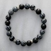 Obsidian, Snowflake | Stone of Purity | Stone Beaded Bracelet | 10mm