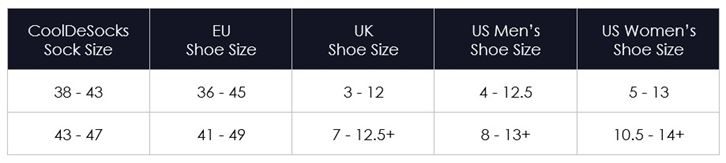 Sock Size Chart Guidelines