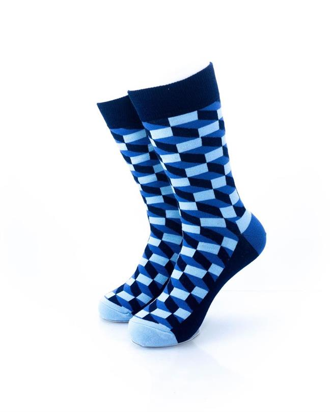CoolDeSocks 3D Cubes Blue Socks front view image