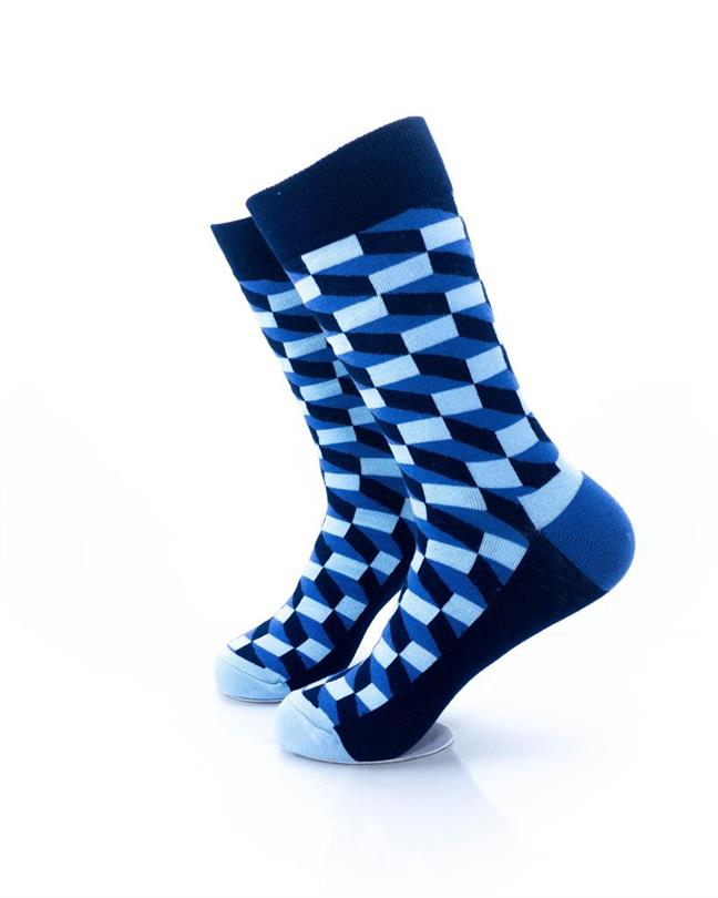 CoolDeSocks 3D Cubes Blue Socks left view image