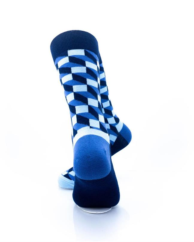 CoolDeSocks 3D Cubes Blue Socks rear view image