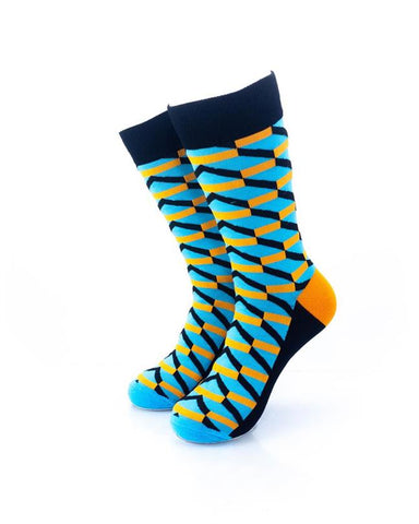 CoolDeSocks 3D Cubes Blue Orange Socks front view image