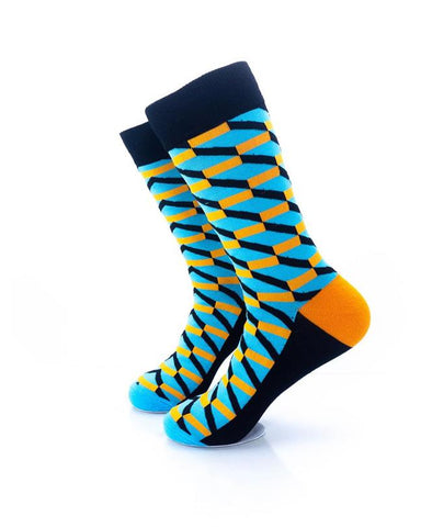 CoolDeSocks 3D Cubes Blue Orange Socks left view image