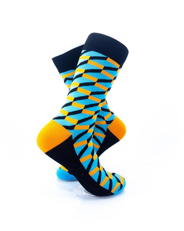 CoolDeSocks 3D Cubes Blue Orange Socks right view image