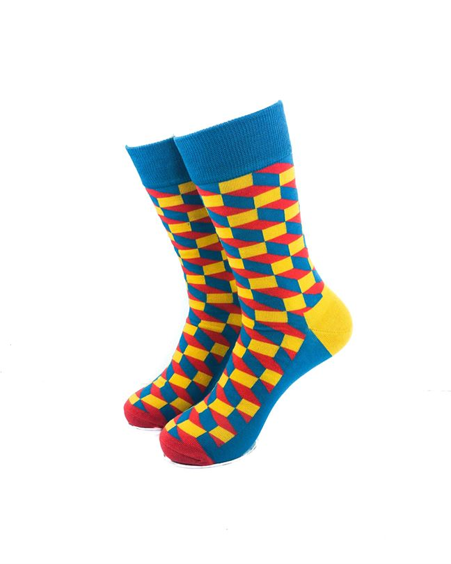 CoolDeSocks 3D Cubes Blue Yellow Socks front view image