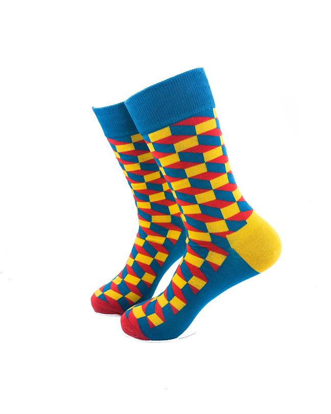CoolDeSocks 3D Cubes Blue Yellow Socks left view image