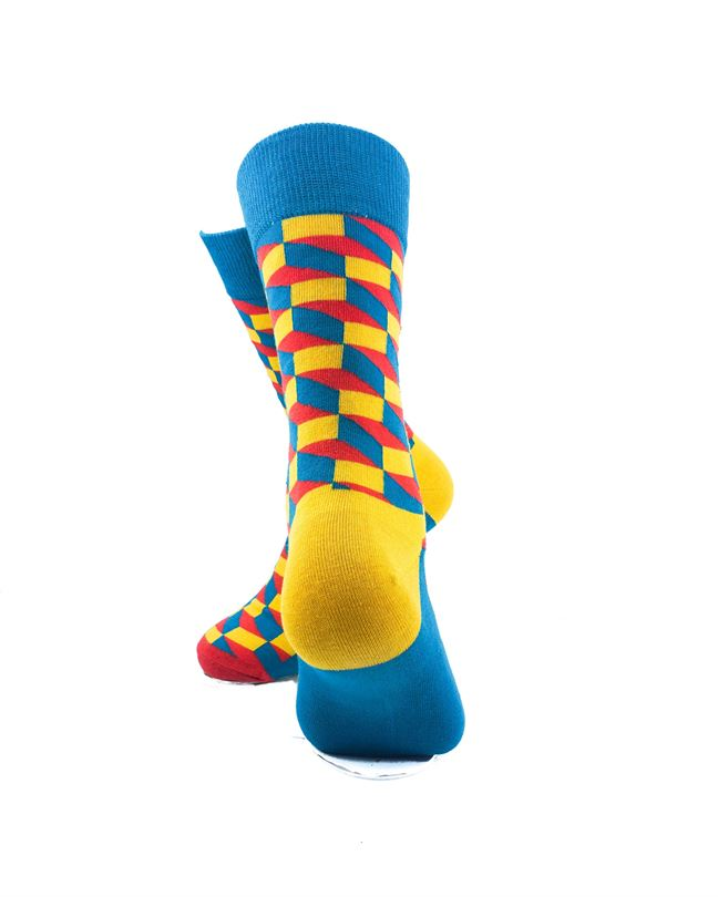 CoolDeSocks 3D Cubes Blue Yellow Socks rear view image