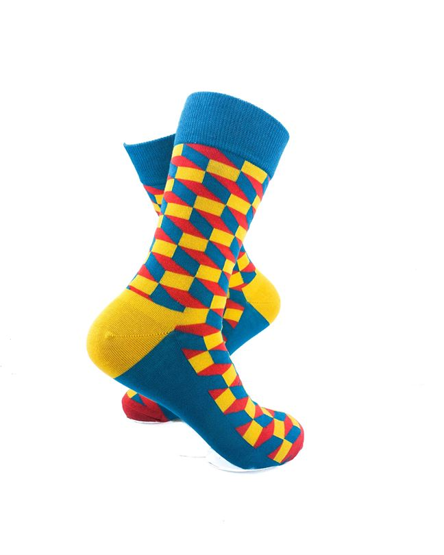 CoolDeSocks 3D Cubes Blue Yellow Socks right view image