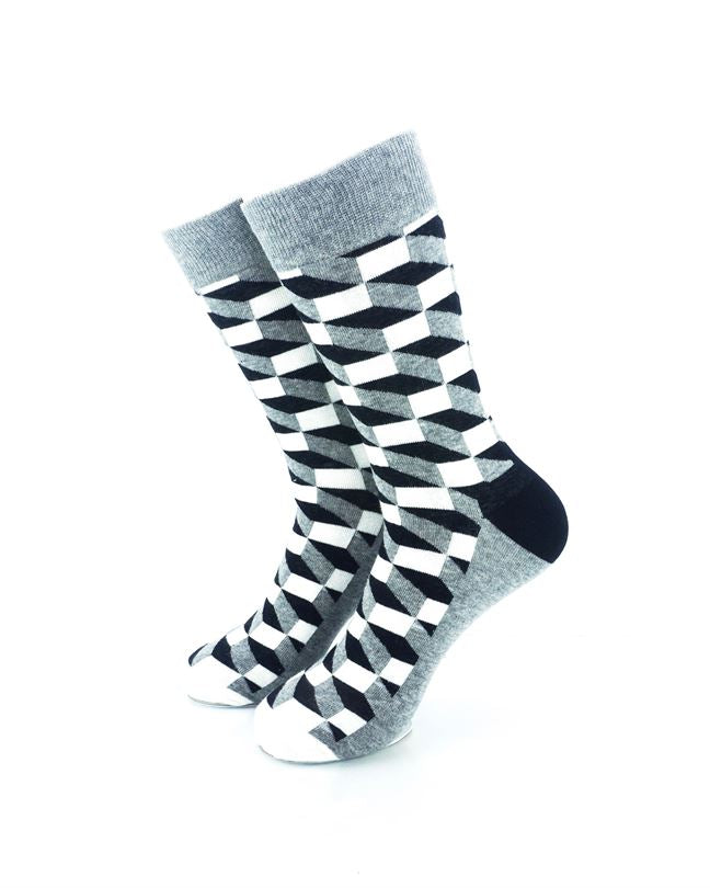 cooldesocks 3d cubes grey crew socks front view