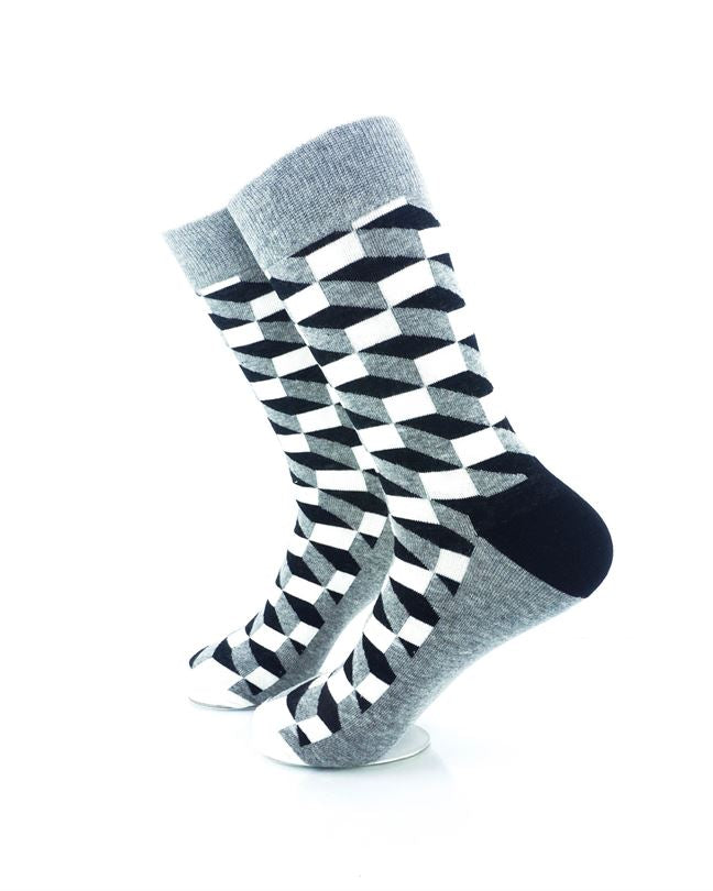 cooldesocks 3d cubes grey crew socks left view