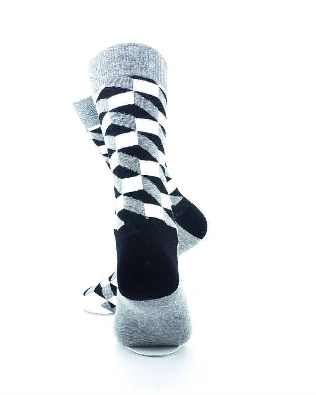 cooldesocks 3d cubes grey crew socks rear view