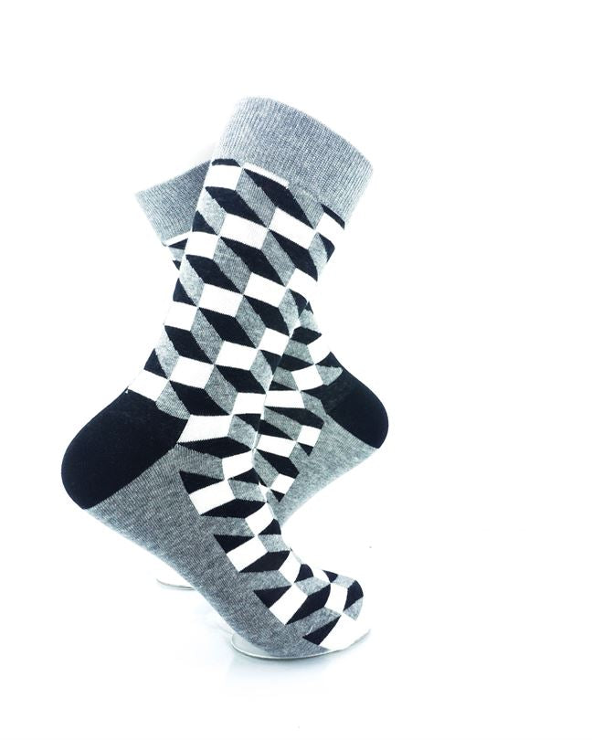 cooldesocks 3d cubes grey crew socks right view