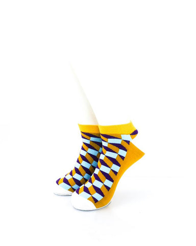 CoolDeSocks 3D Cubes Radiant Orange Ankle Socks front view image