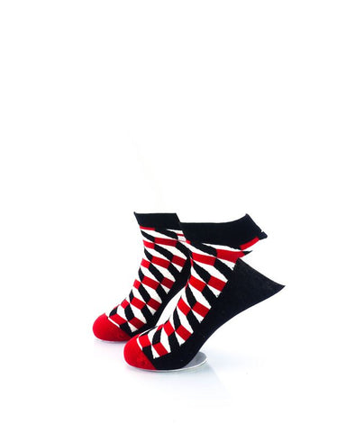 CoolDeSocks 3D Cubes Red Black Ankle Socks left view image