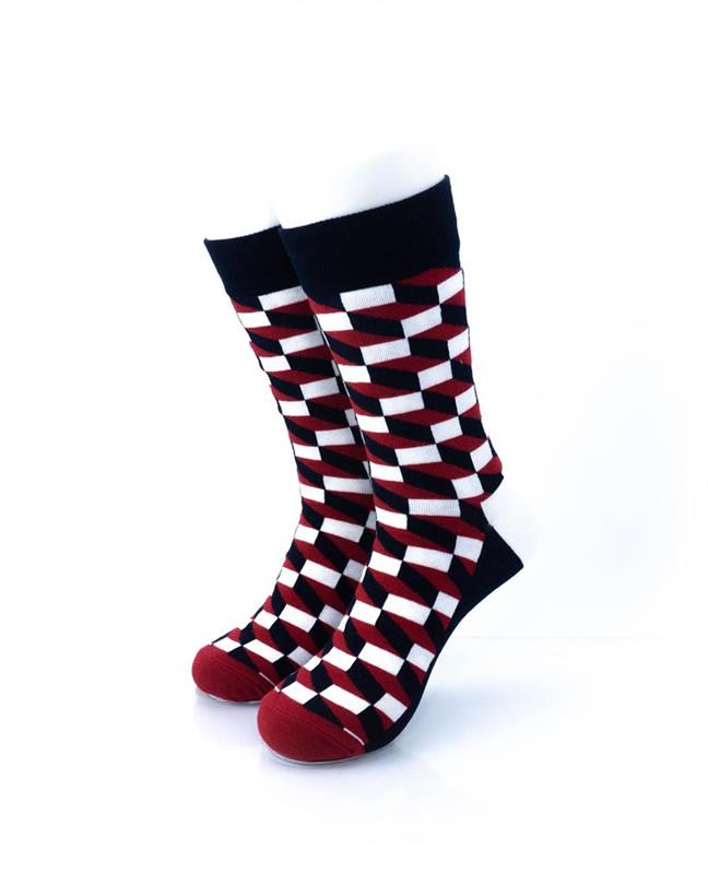 CoolDeSocks 3D Cubes Red Black Socks front view image