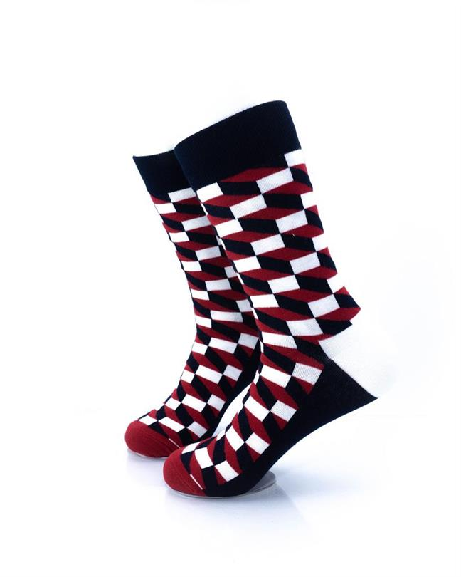 CoolDeSocks 3D Cubes Red Black Socks left view image