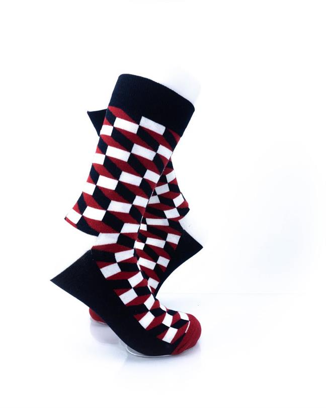 CoolDeSocks 3D Cubes Red Black Socks right view image