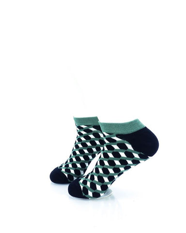 CoolDeSocks 3D Cubes Vector Green Ankle Socks left view image