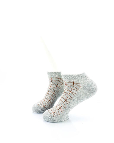 CoolDeSocks 3D Cubes Wire Grey Ankle Socks left view image