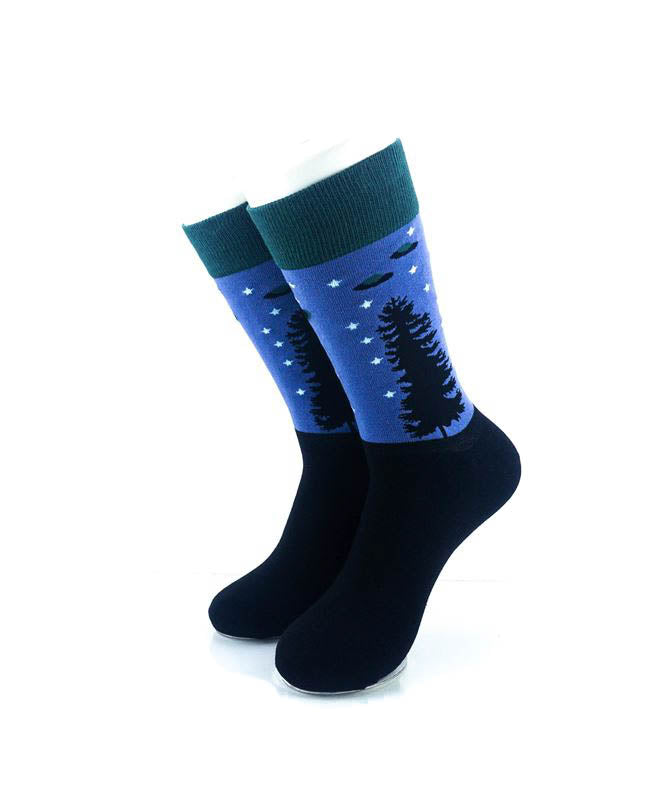 cooldesocks alien forest crew socks front view