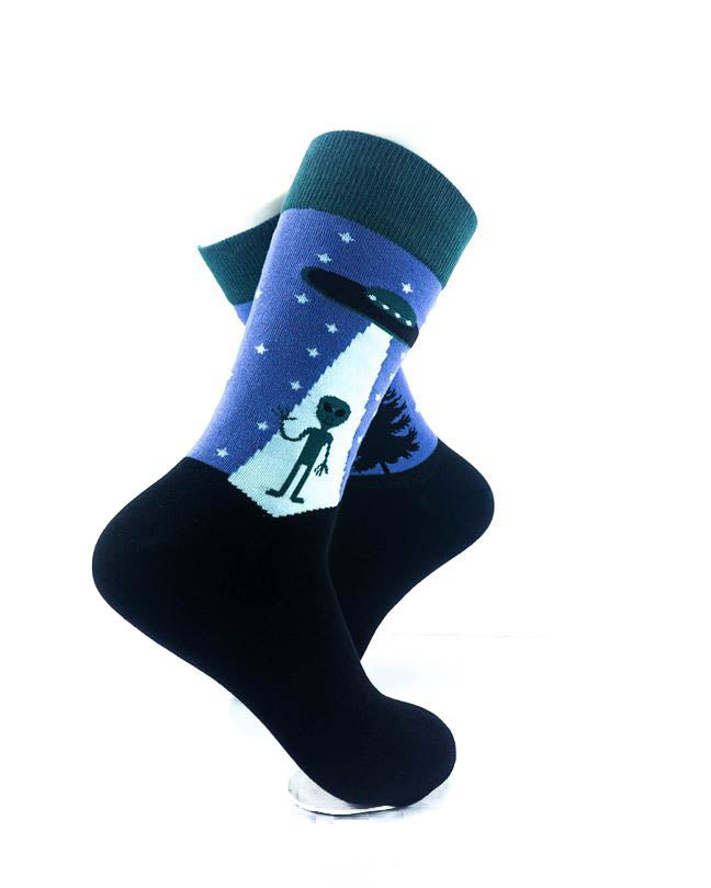 cooldesocks alien forest crew socks right view