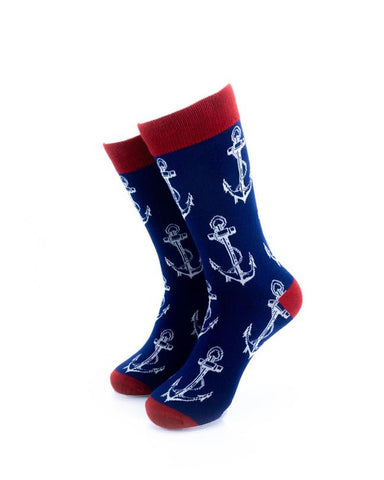 CoolDeSocks Anchor Blue Socks front view image