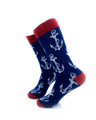 CoolDeSocks Anchor Blue Socks left view image