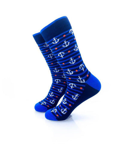 CoolDeSocks Anchor in Blue Stripes Socks left view image