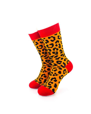 CoolDeSocks Animal Pattern - Leopard Socks Front View Image