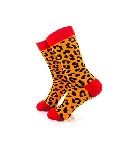 CoolDeSocks Animal Pattern - Leopard Socks Left View Image