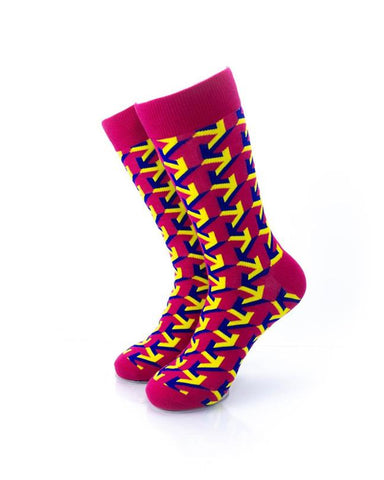 CoolDeSocks Arrow Raspberry Socks front view image