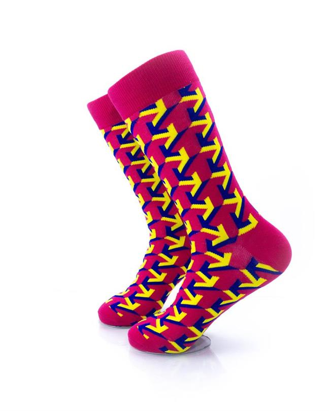 CoolDeSocks Arrow Raspberry Socks left view image