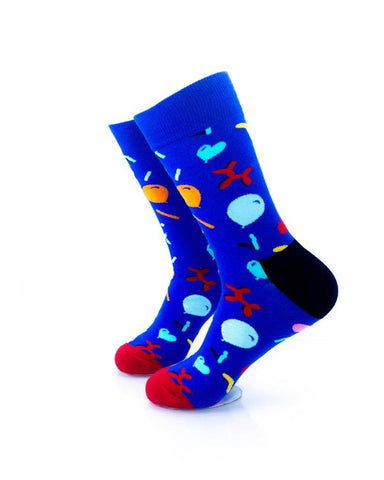 CoolDeSocks Balloon Party - Blue Socks left view image
