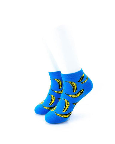 cooldesocks banana blue ankle socks front view