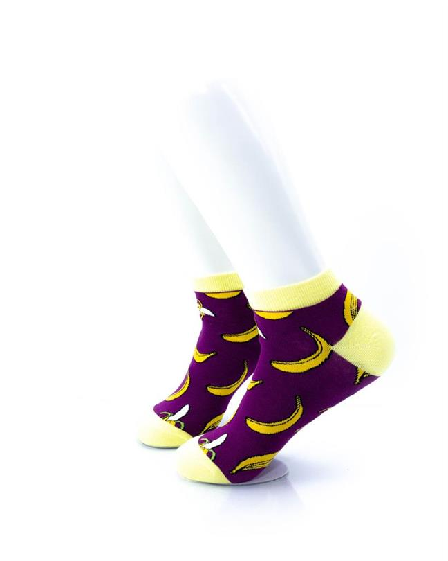 CoolDeSocks Banana Purple Socks left view image
