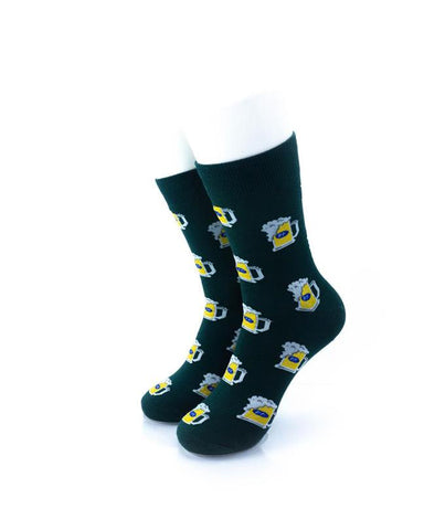 CoolDeSocks Beer Pint Green Socks front view image