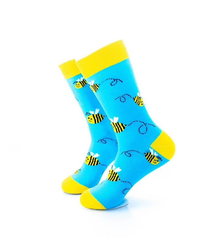 CoolDeSocks Bees Blue Yellow Socks left view image