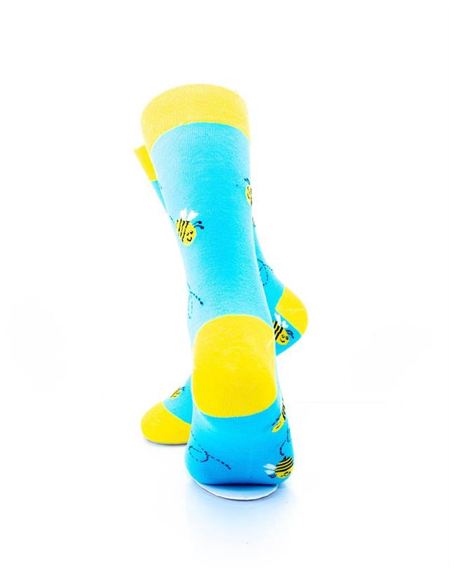 CoolDeSocks Bees Blue Yellow Socks rear view image