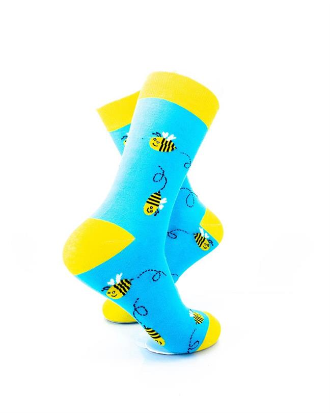 CoolDeSocks Bees Blue Yellow Socks right view image