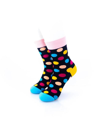 cooldesocks big dot black pink quarter socks front view