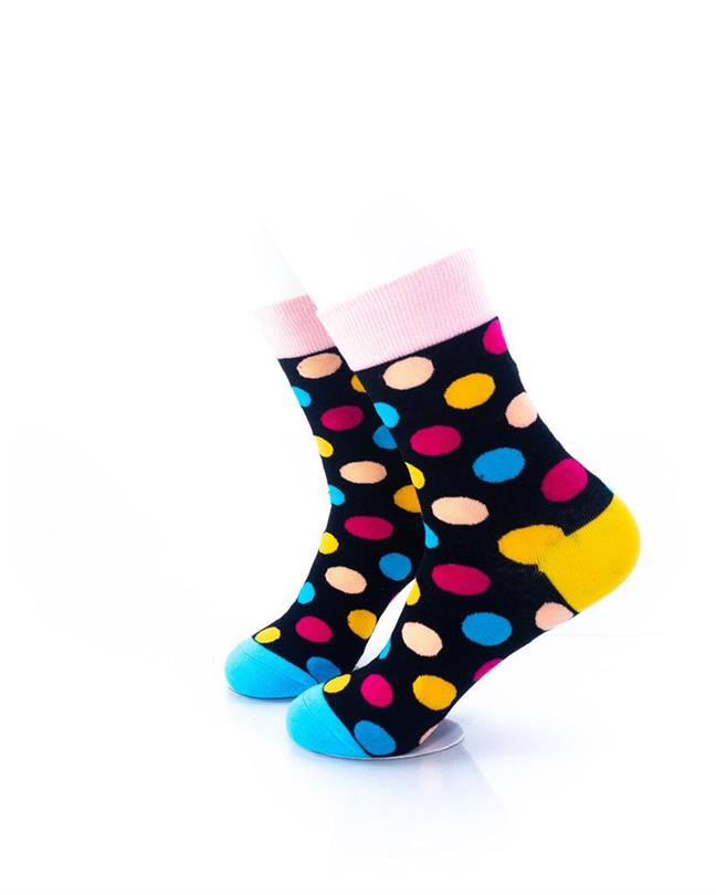 CoolDeSocks Big Dot Black Pink Socks left view image