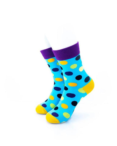 cooldesocks big dot blue purple quarter socks front view