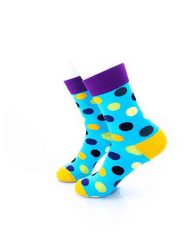 CoolDeSocks Big Dot Blue Purple Socks left view image