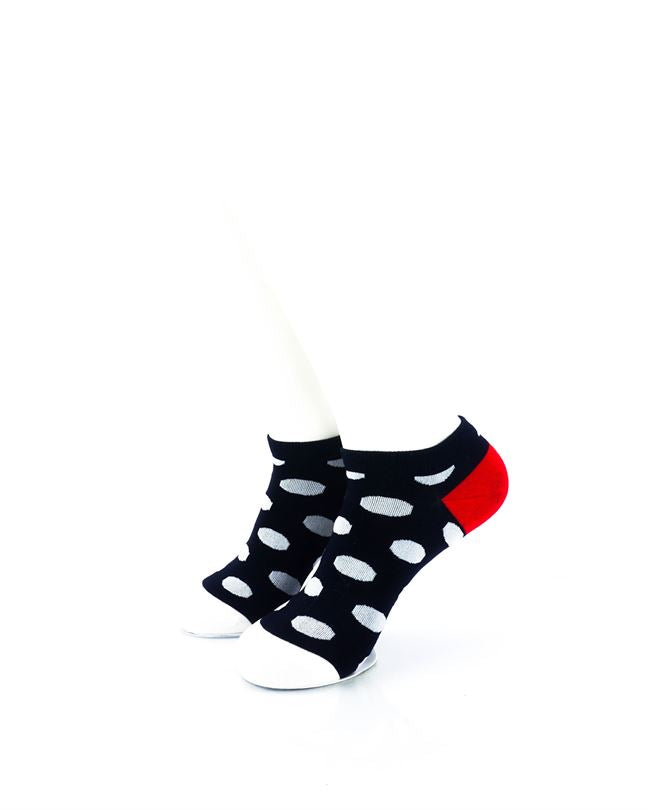 CoolDeSocks Big Dot BW Red Liner Socks front view image
