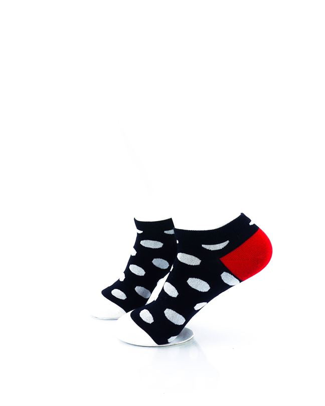 CoolDeSocks Big Dot BW Red Liner Socks left view image