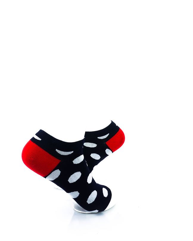 CoolDeSocks Big Dot BW Red Liner Socks right view image