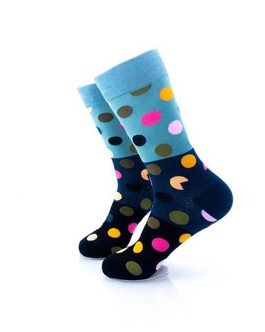 CoolDeSocks Big Dot 3 Black Blue Socks left view image