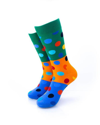 CoolDeSocks Big Dot 3 Blue Orange Socks front view image