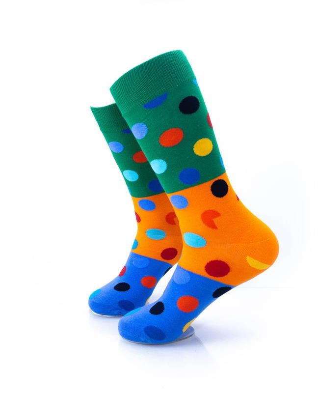 CoolDeSocks Big Dot 3 Blue Orange Socks left view image