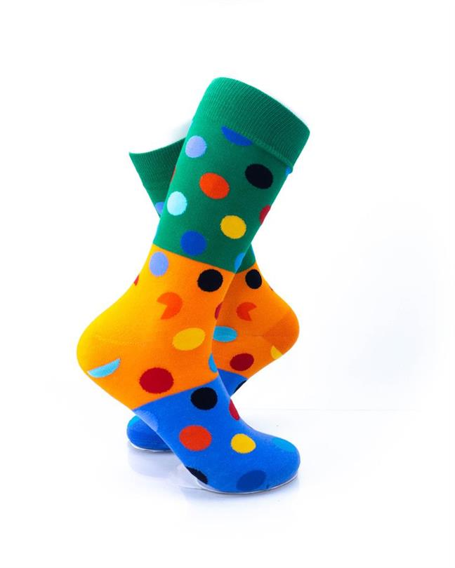 CoolDeSocks Big Dot 3 Blue Orange Socks right view image